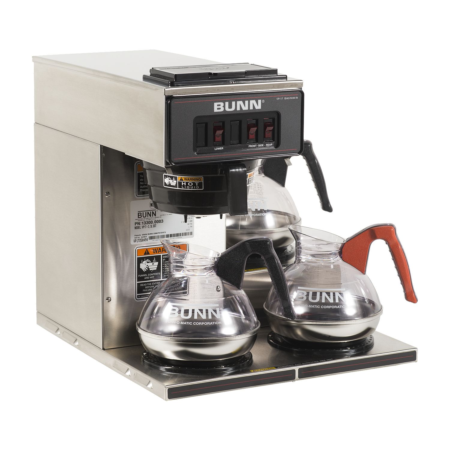 Bunn 13300.0003 VP17-3 3 LWR Warmer Pourover Decanter Brewer